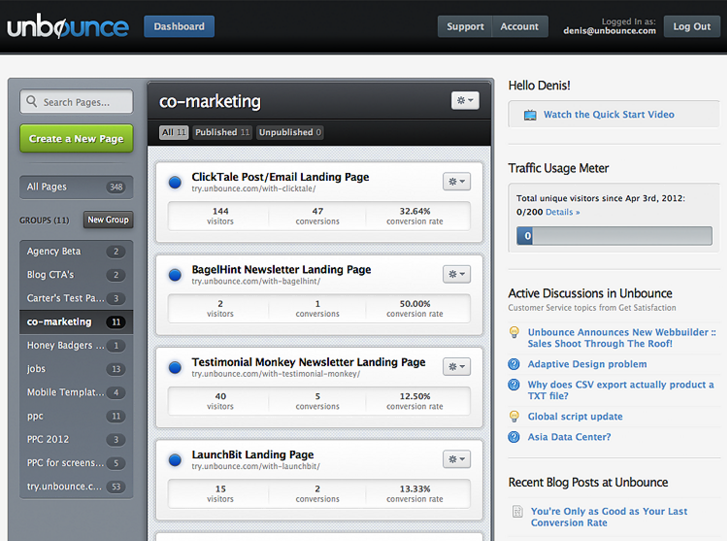 Unbounce: Build and Test Landing Pages without IT