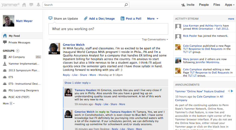 Yammer: Enterprise Social Network