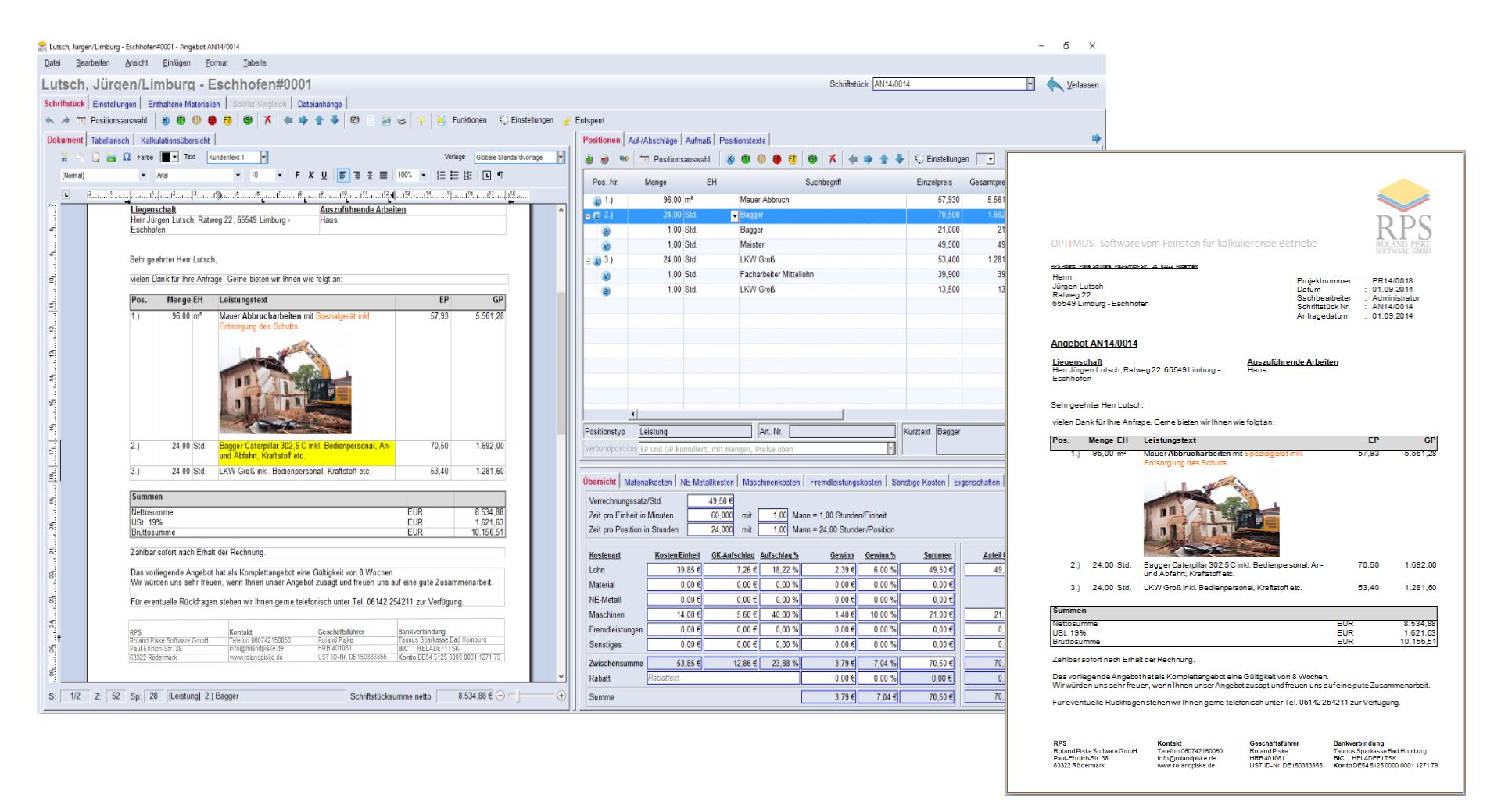 Kalkulationssoftware: OPTIMUS