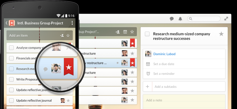 Wunderlist - organizing everything with todo lists and time tracking